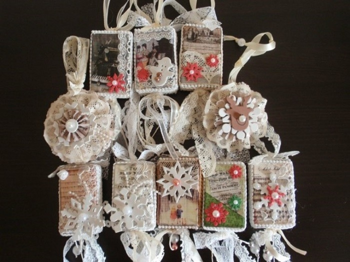 Christmas cloth ornaments in vintage style