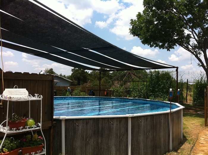 Set up shade above ground pool